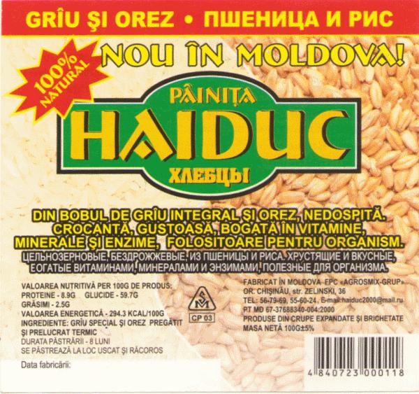 Haiduc din grîu și orez
